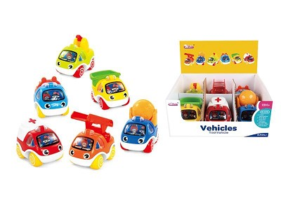 6PCS Pull Back Fire Engine And Engineering Truck