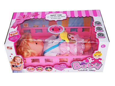 27CM Doll With Function  Bed